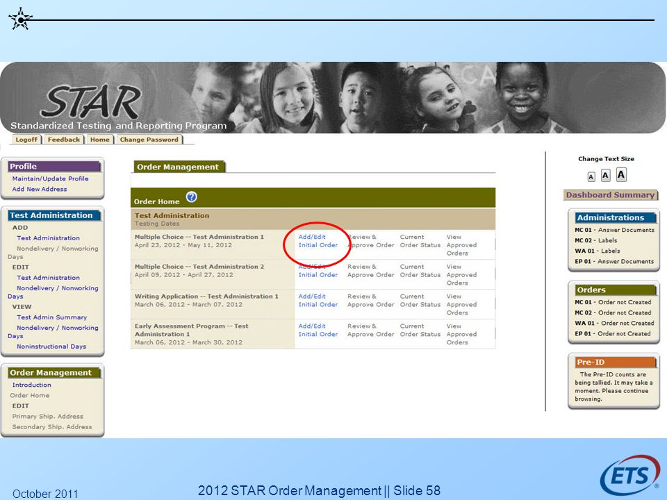 2012 STAR Order Management || Slide 58 October 2011