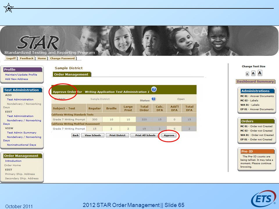 2012 STAR Order Management || Slide 65 October 2011