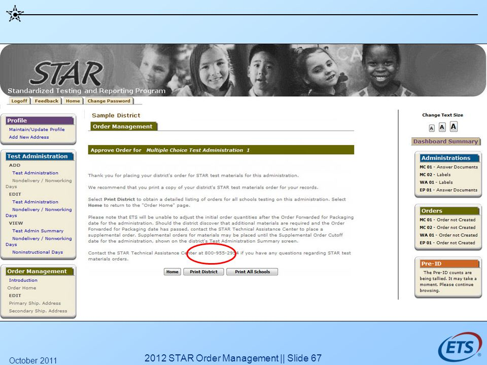 2012 STAR Order Management || Slide 67 October 2011