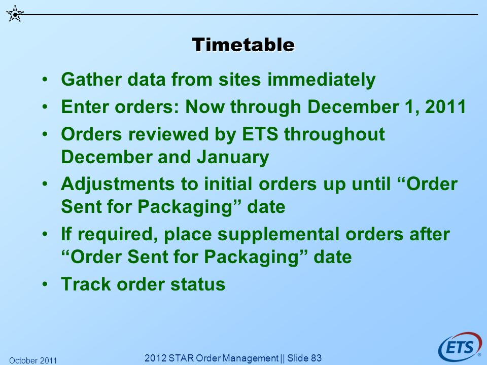 Timetable Gather data from sites immediately Enter orders: Now through December 1, 2011 Orders reviewed by ETS throughout December and January Adjustm