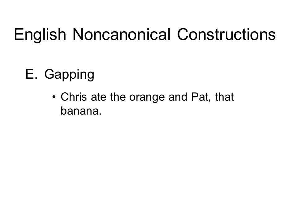E.Gapping Chris ate the orange and Pat, that banana. English Noncanonical Constructions