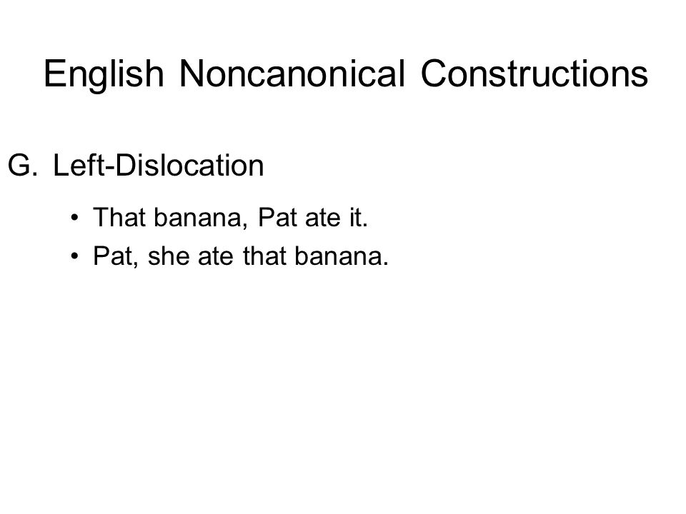 G.Left-Dislocation That banana, Pat ate it. Pat, she ate that banana. English Noncanonical Constructions