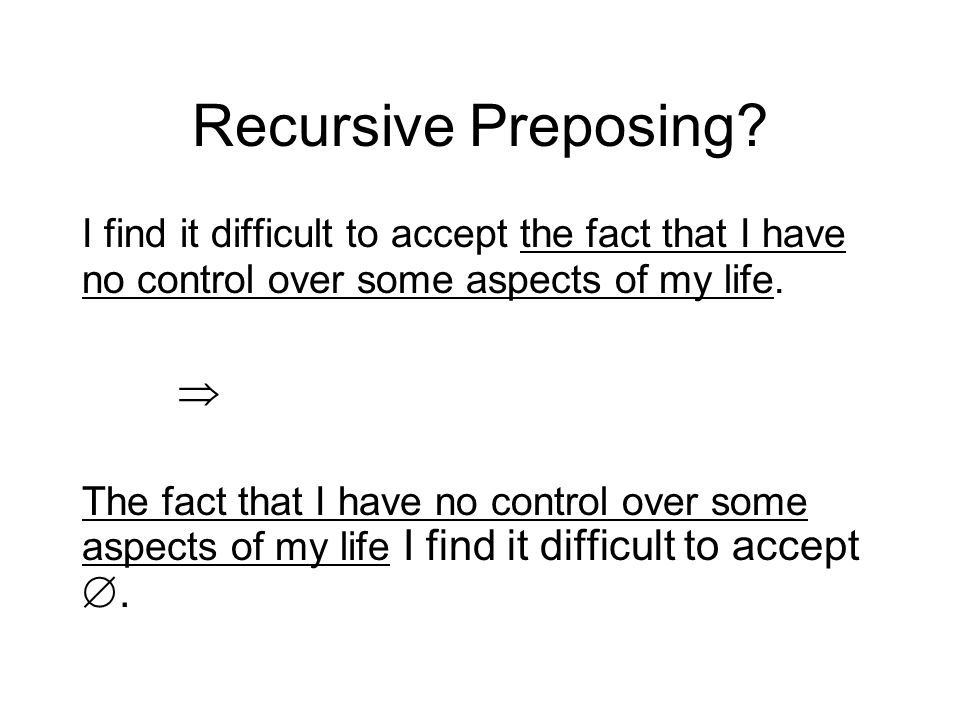 Recursive Preposing? I find it difficult to accept the fact that I have no control over some aspects of my life. The fact that I have no control over