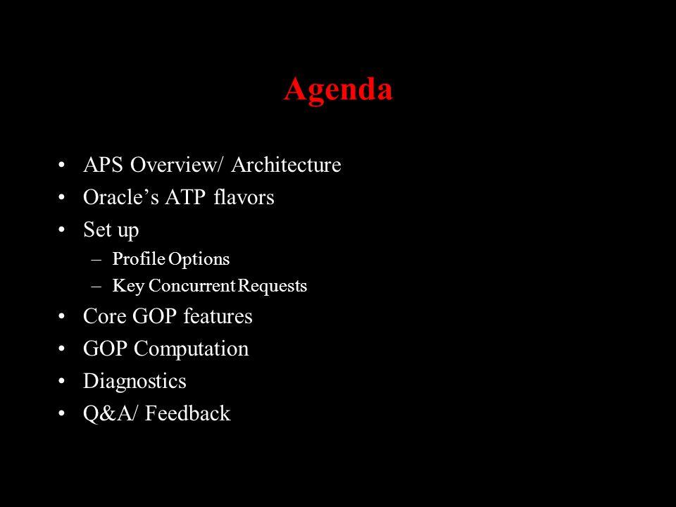 Agenda APS Overview/ Architecture Oracles ATP flavors Set up –Profile Options –Key Concurrent Requests Core GOP features GOP Computation Diagnostics Q&A/ Feedback
