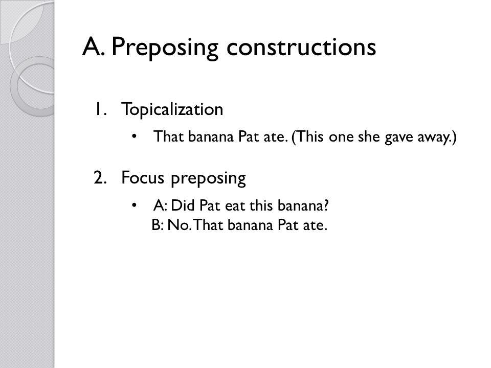 A. Preposing constructions 1.Topicalization That banana Pat ate.