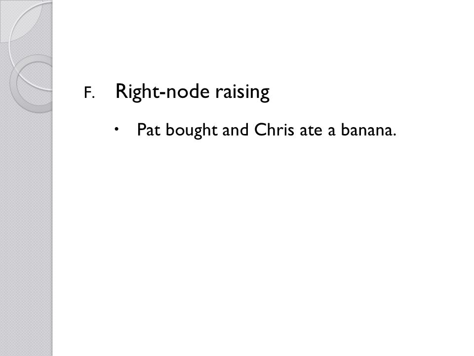 F. Right-node raising Pat bought and Chris ate a banana.