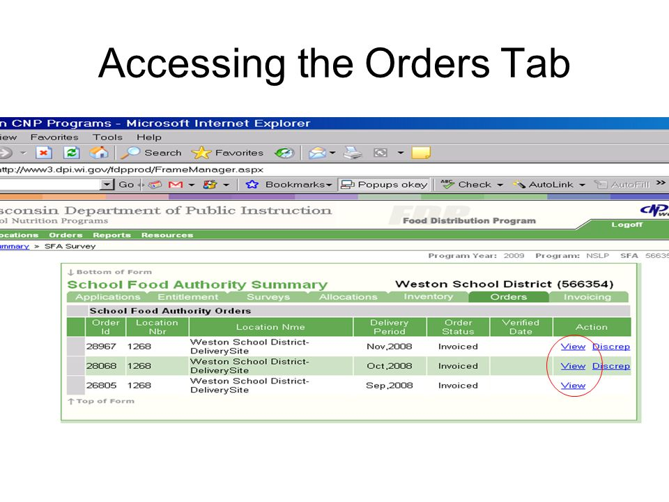 Accessing the Orders Tab