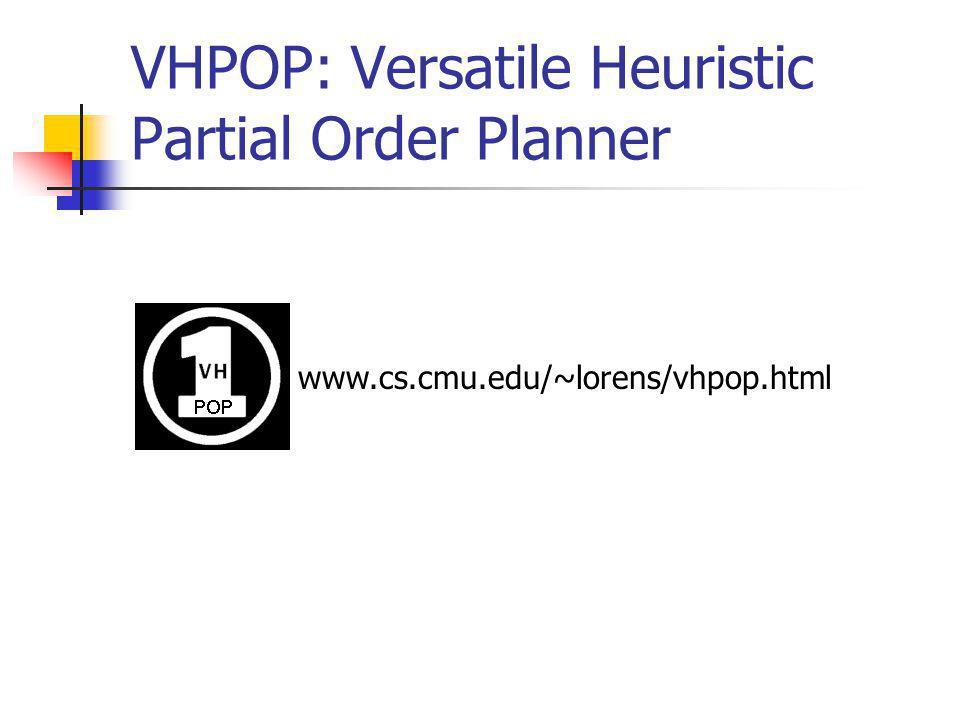 VHPOP: Versatile Heuristic Partial Order Planner www.cs.cmu.edu/~lorens/vhpop.html