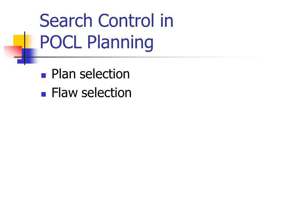 Additive Heuristic for POCL Planning Key assumption: Subgoal independence Heuristic value for open condition p: Zero if p unifies with an initial condition Minimum over heuristic values for ground actions having some effect unifying with p Heuristic value for partial plan: Sum of heuristic values for open conditions