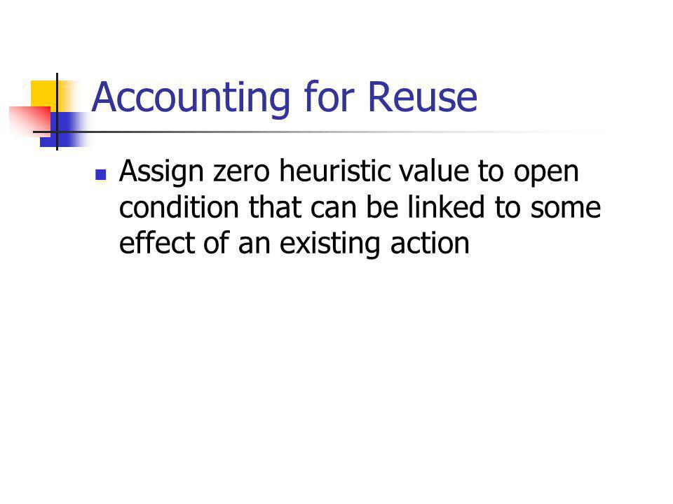 Heuristic Flaw Selection Use distance-based heuristic to rank open conditions Build plan from goals to start state Most heuristic cost first Most estimated effort first Build plan from start state to goals Least cost/effort first
