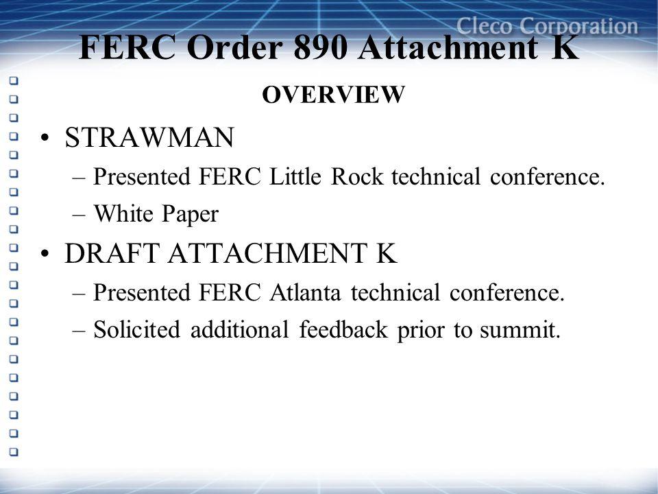 FERC Order 890 Attachment K OVERVIEW STRAWMAN –Presented FERC Little Rock technical conference. –White Paper DRAFT ATTACHMENT K –Presented FERC Atlant