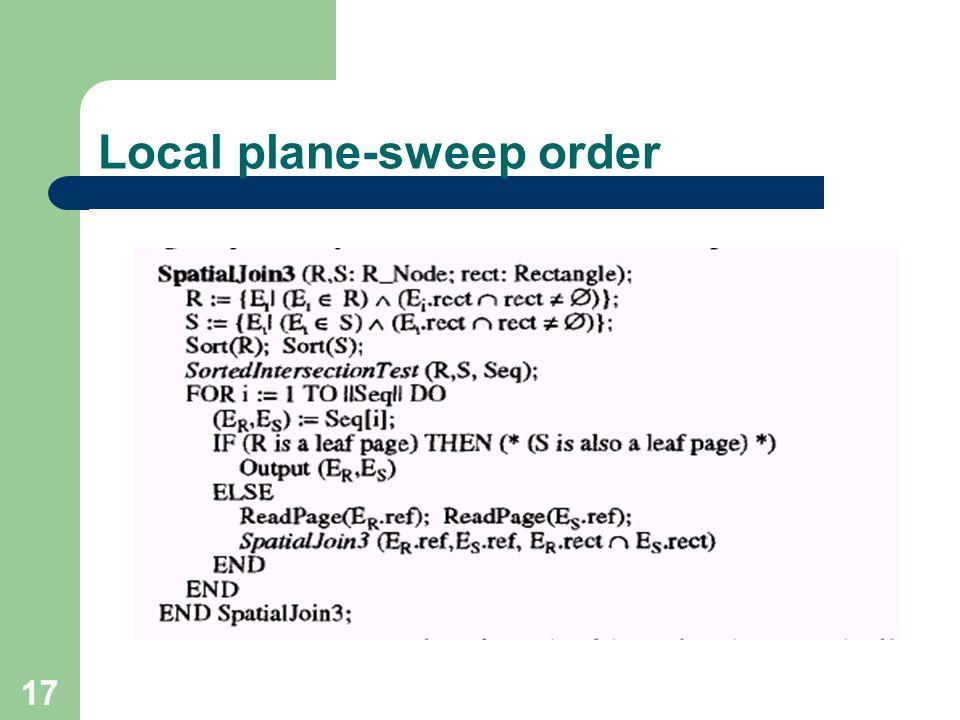 17 Local plane-sweep order