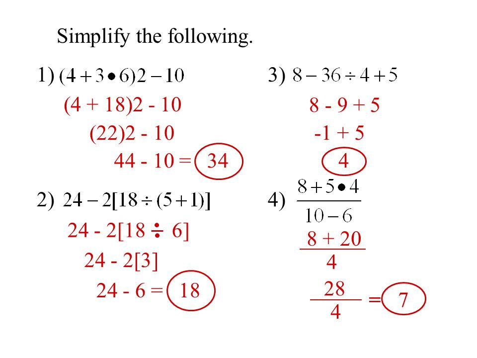 24 2 2(4 + 8) Evaluate the expression if a = 2, b = 4, and c = 8 1) ab - c 2) 3a(c - b) 3) 4) (2)(4) - 8 8 - 8 0 3(2)(8 - 4) 3(2)(4) 24 4 + 3(2) 2 2 4 + 3(4) 2 4 + 6 = 10 2 2(12) 2 == 12 4 + 12 2