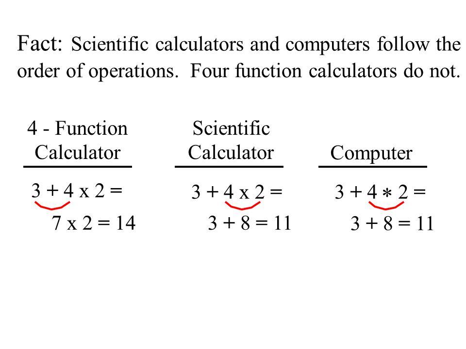 Symbolic Differences in Calculators and Computers Expression Scientific Calculator Computer + - x 4 2 ++ - - * x / 4 x 2 y 4 ^ 2