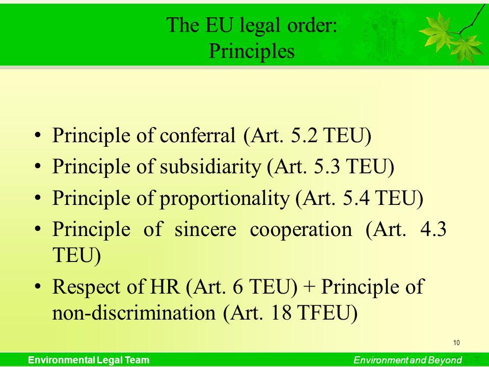 Environmental Legal TeamEnvironment and Beyond The EU legal order: Principles Principle of conferral (Art. 5.2 TEU) Principle of subsidiarity (Art. 5.