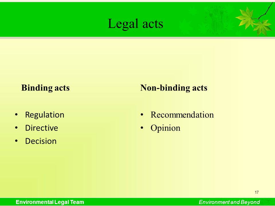 Environmental Legal TeamEnvironment and Beyond Legal acts Binding acts Regulation Directive Decision Non-binding acts Recommendation Opinion 17