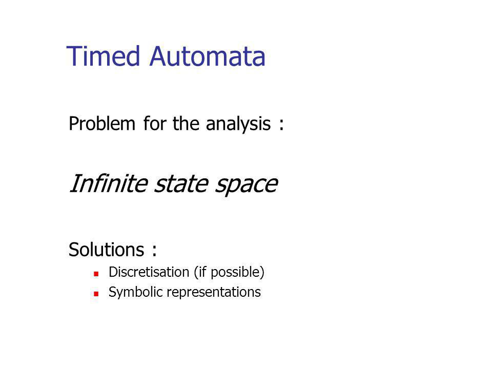 Timed Automata Problem for the analysis : Infinite state space Solutions : Discretisation (if possible) Symbolic representations
