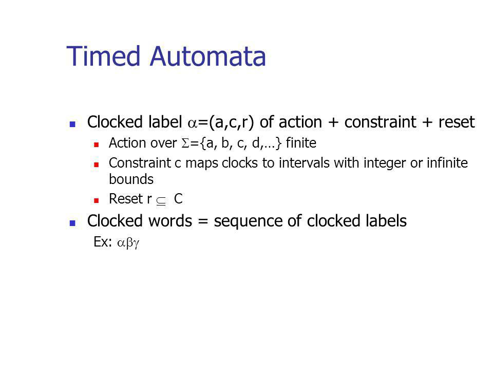 Timed Automata Clocked label =(a,c,r) of action + constraint + reset Action over ={a, b, c, d,…} finite Constraint c maps clocks to intervals with integer or infinite bounds Reset r C Clocked words = sequence of clocked labels Ex: