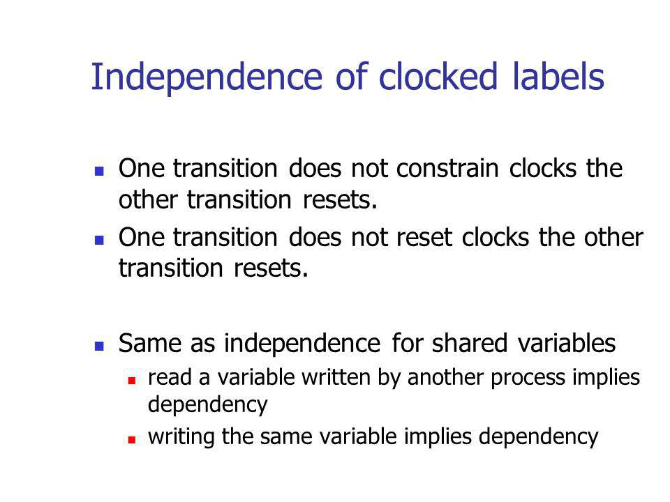 Independence of clocked labels One transition does not constrain clocks the other transition resets.