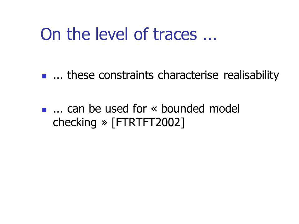 On the level of traces...... these constraints characterise realisability...