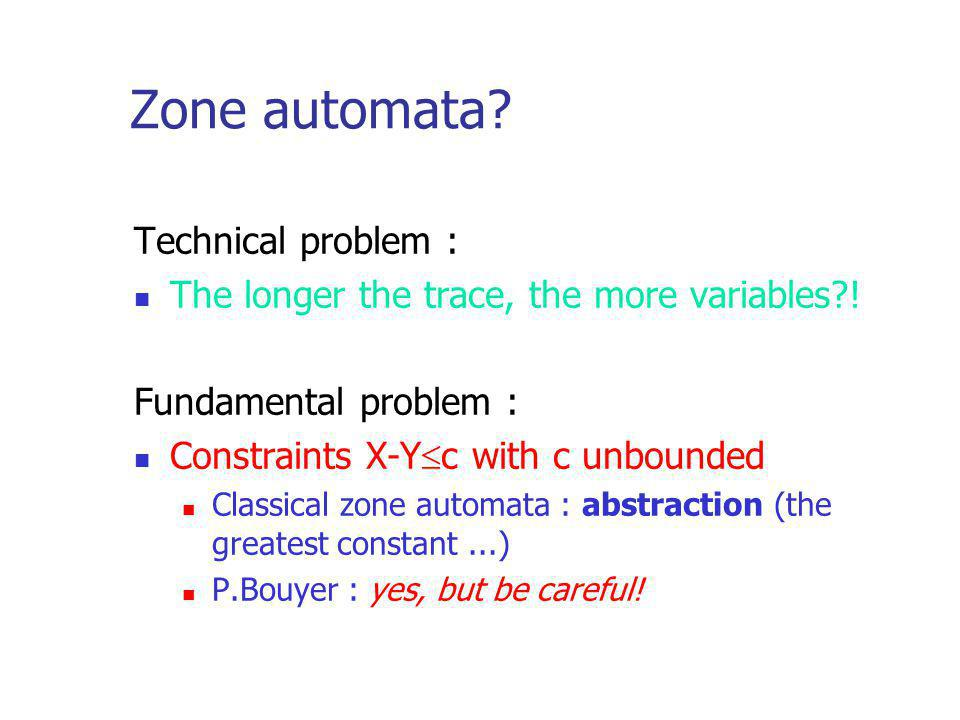 Zone automata. Technical problem : The longer the trace, the more variables?.