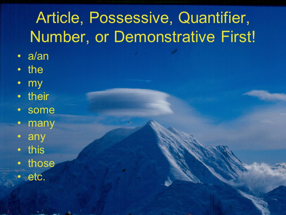 Article, Possessive, Quantifier, Number, or Demonstrative First! a/an the my their some many any this those etc.