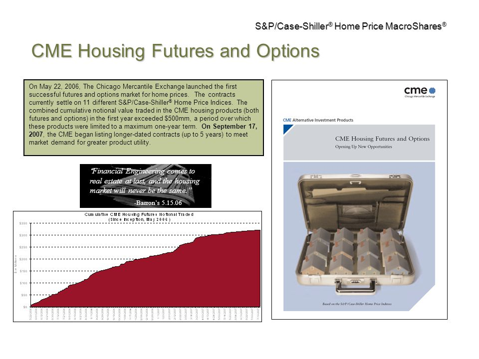 On May 22, 2006, The Chicago Mercantile Exchange launched the first successful futures and options market for home prices.