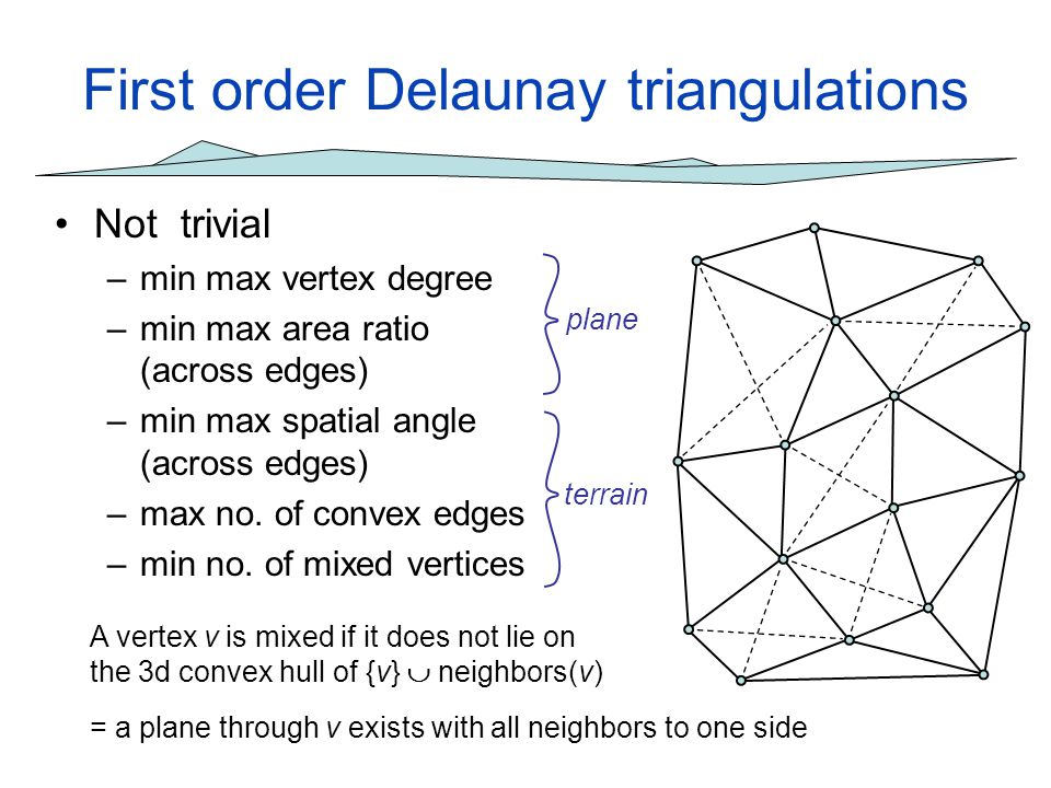 First order Delaunay triangulations Not trivial –min max vertex degree –min max area ratio (across edges) –min max spatial angle (across edges) –max n