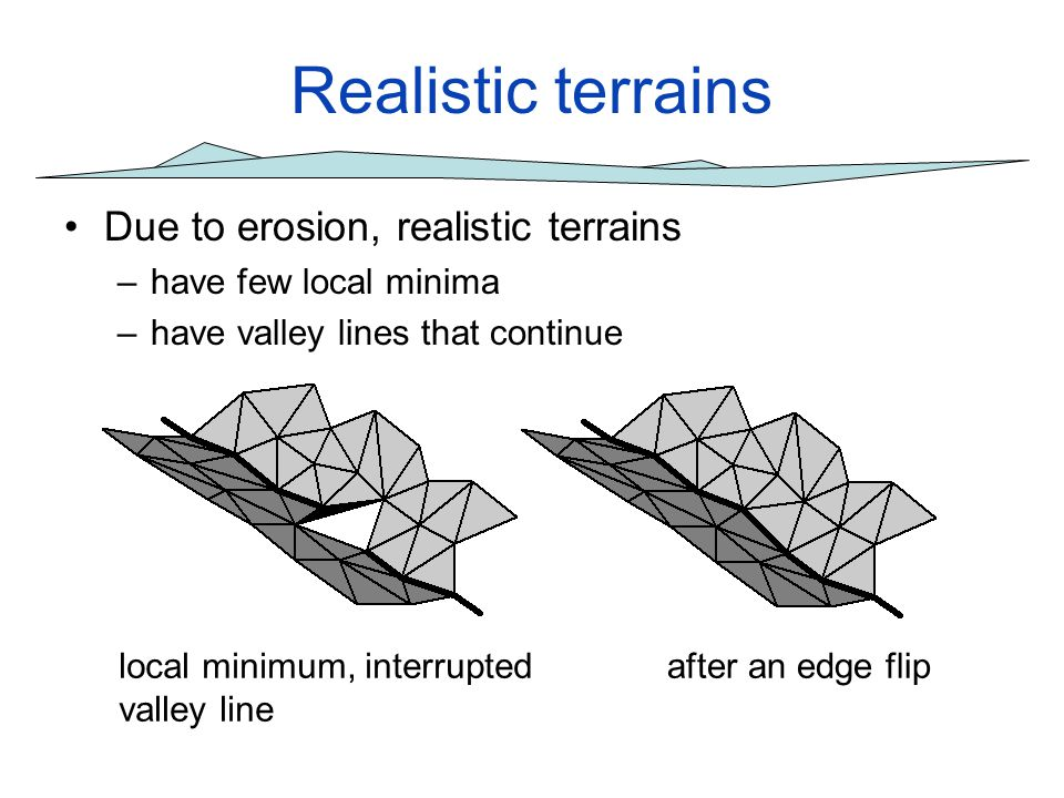 Realistic terrains Due to erosion, realistic terrains –have few local minima –have valley lines that continue local minimum, interrupted valley line a