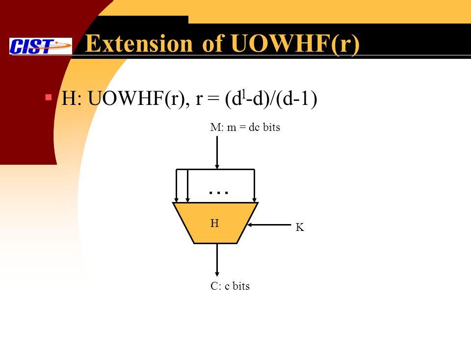 Extension of UOWHF(r) H: UOWHF(r), r = (d l -d)/(d-1) H … M: m = dc bits K C: c bits
