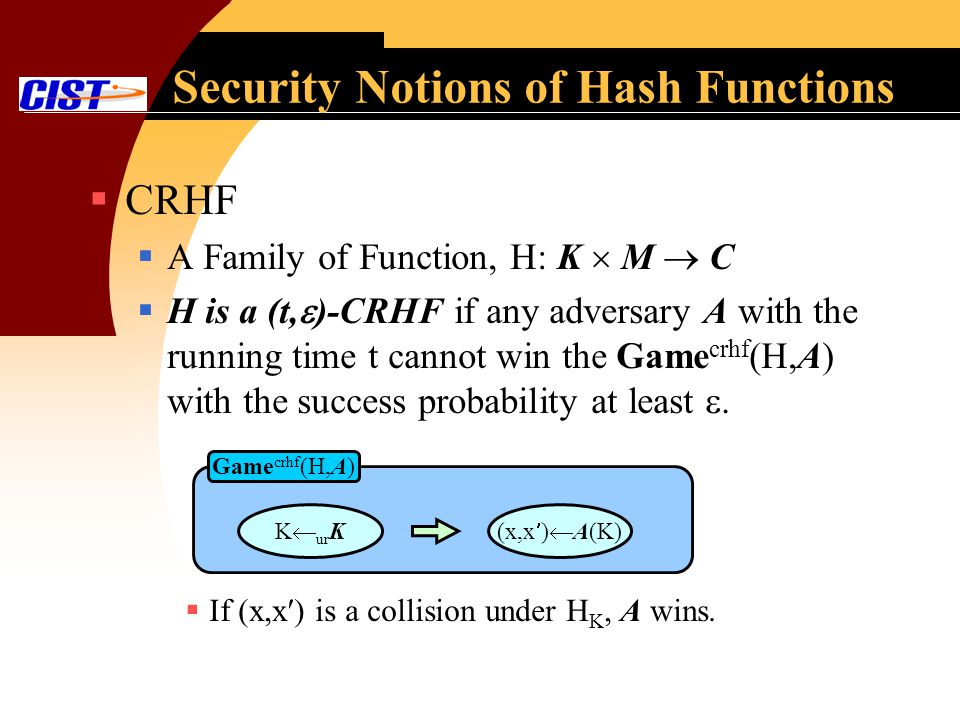 Security Notions of Hash Functions CRHF A Family of Function, H: K M C H is a (t, )-CRHF if any adversary A with the running time t cannot win the Game crhf (H,A) with the success probability at least.