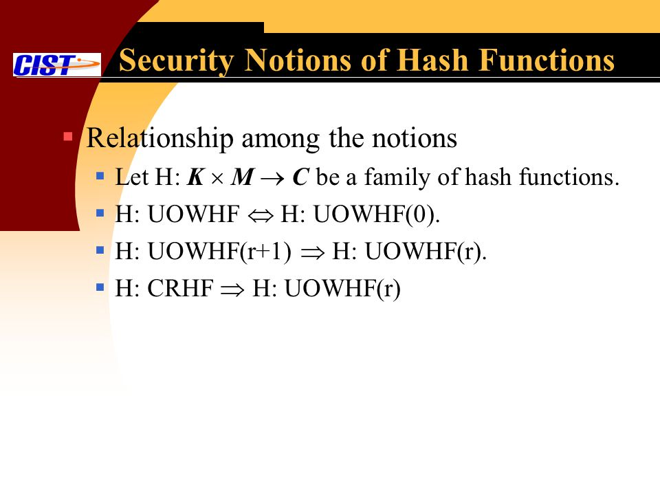 Security Notions of Hash Functions Relationship among the notions Let H: K M C be a family of hash functions.