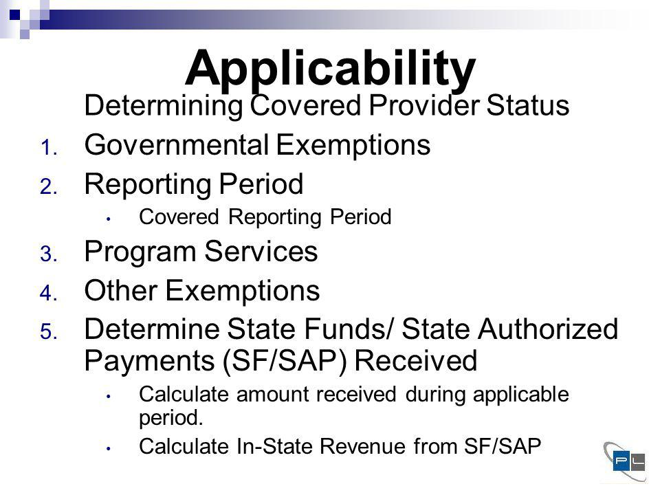 Applicability 1. Governmental Exemptions 2. Reporting Period Covered Reporting Period 3.