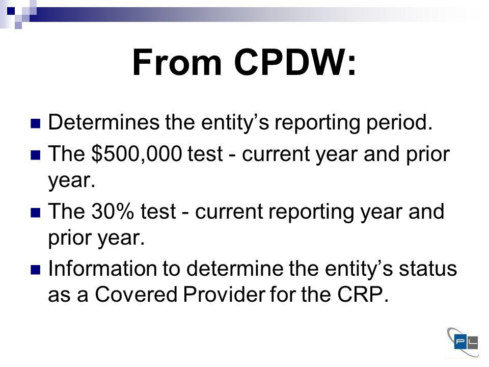 From CPDW: Determines the entitys reporting period.