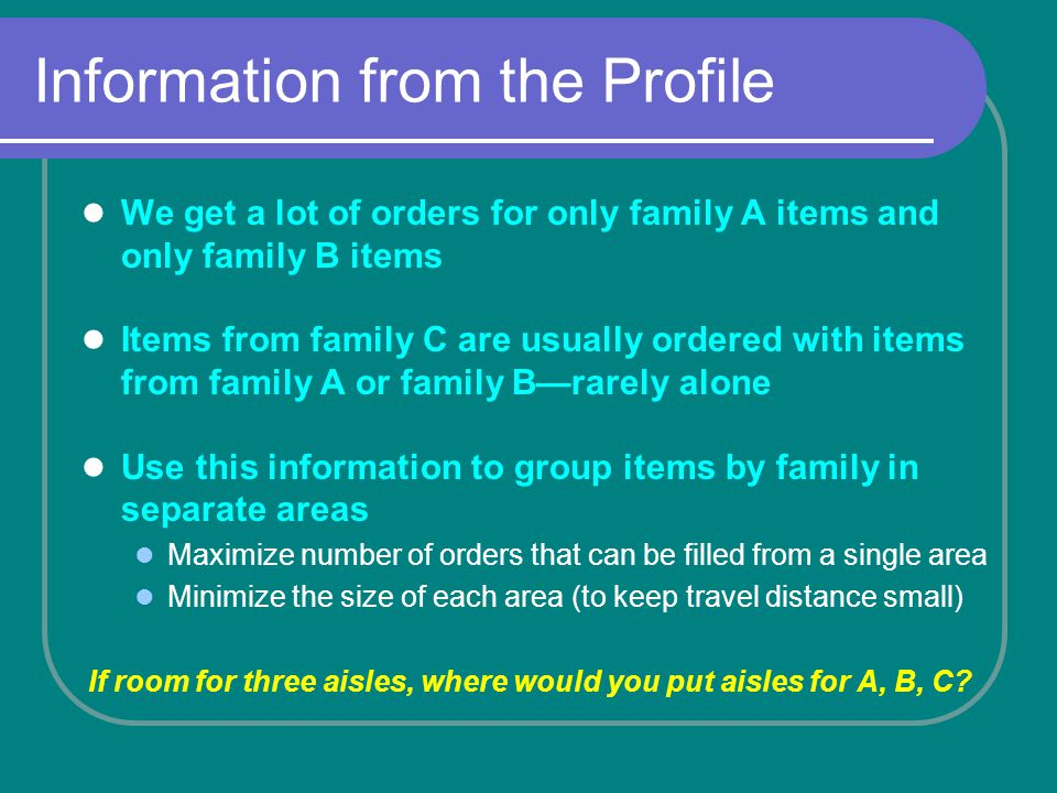 Information from the Profile We get a lot of orders for only family A items and only family B items Items from family C are usually ordered with items from family A or family Brarely alone Use this information to group items by family in separate areas Maximize number of orders that can be filled from a single area Minimize the size of each area (to keep travel distance small) If room for three aisles, where would you put aisles for A, B, C