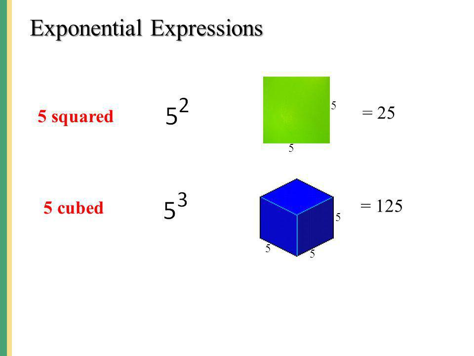 Exponential Expressions 5 squared 5 5 = 25 5 cubed 5 5 5 = 125