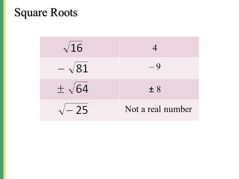 Square Roots 4 – 9 ± 8 Not a real number