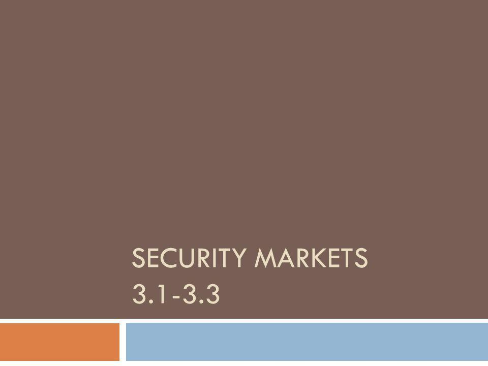SECURITY MARKETS 3.1-3.3