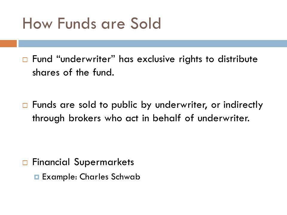 How Funds are Sold Fund underwriter has exclusive rights to distribute shares of the fund. Funds are sold to public by underwriter, or indirectly thro