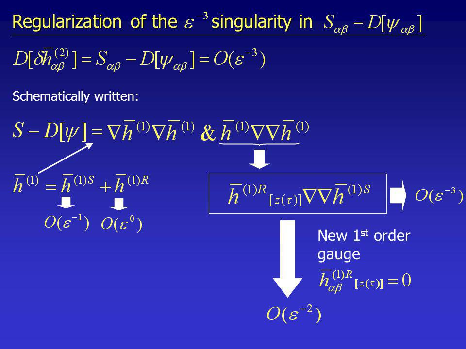 Schematically written: Regularization of the singularity in New 1 st order gauge