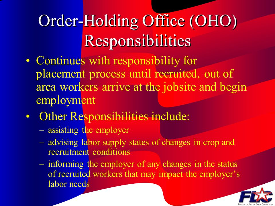 State Workforce Agency (SWA) Responsibilities In States Selected for Recruitment SWA is known as applicant-holding office (AHO) when making referrals