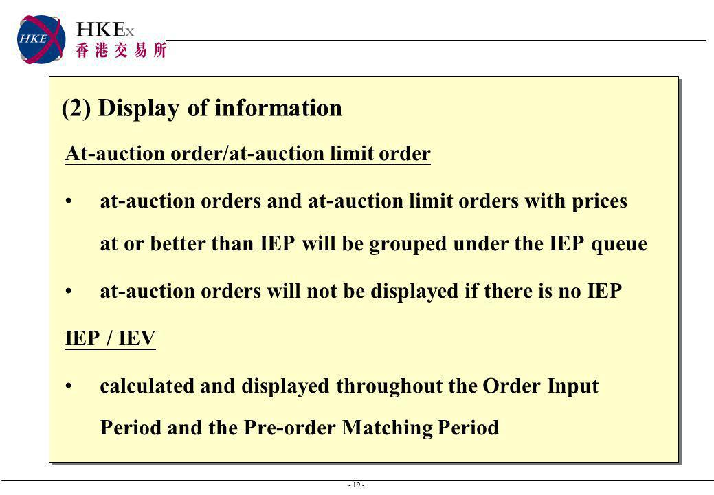 - 19 - (2) Display of information At-auction order/at-auction limit order at-auction orders and at-auction limit orders with prices at or better than