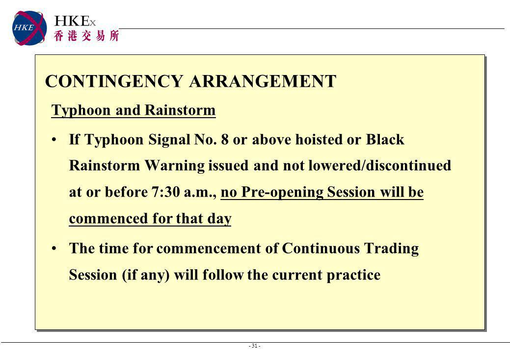 - 31 - CONTINGENCY ARRANGEMENT Typhoon and Rainstorm If Typhoon Signal No.