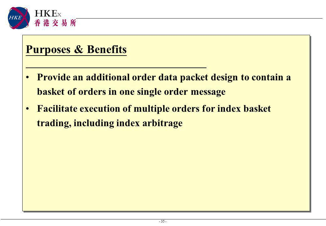 - 35 - Purposes & Benefits Provide an additional order data packet design to contain a basket of orders in one single order message Facilitate executi