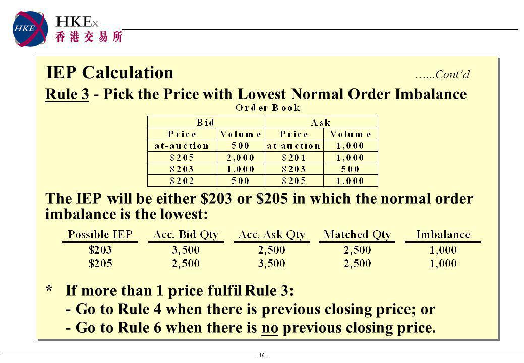 - 46 - IEP Calculation …... Contd Rule 3 - Pick the Price with Lowest Normal Order Imbalance The IEP will be either $203 or $205 in which the normal o