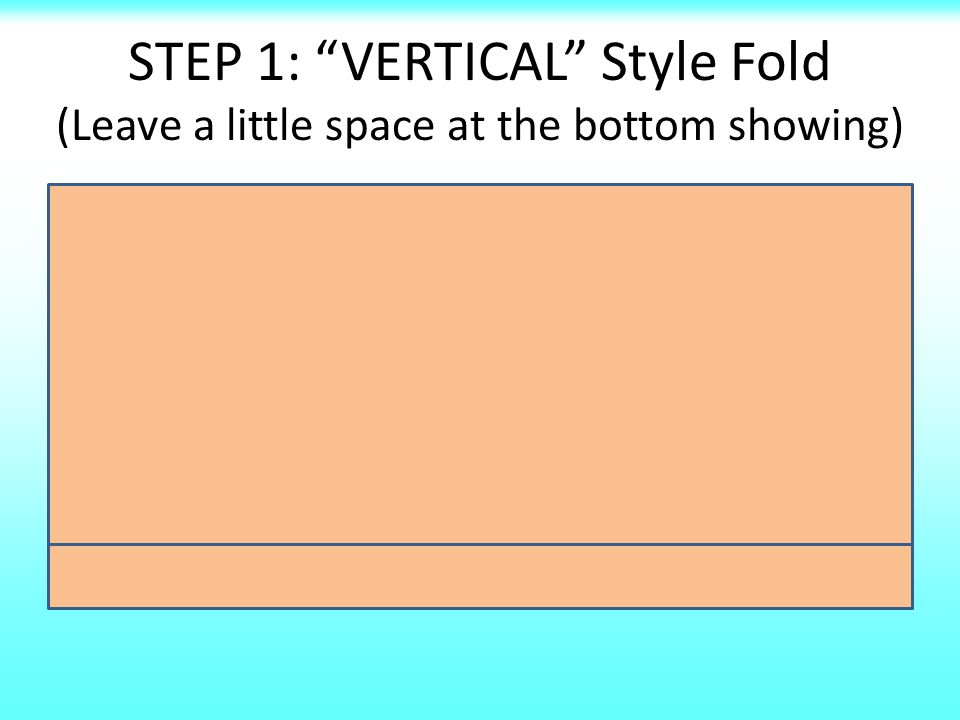 STEP 1: VERTICAL Style Fold (Leave a little space at the bottom showing)