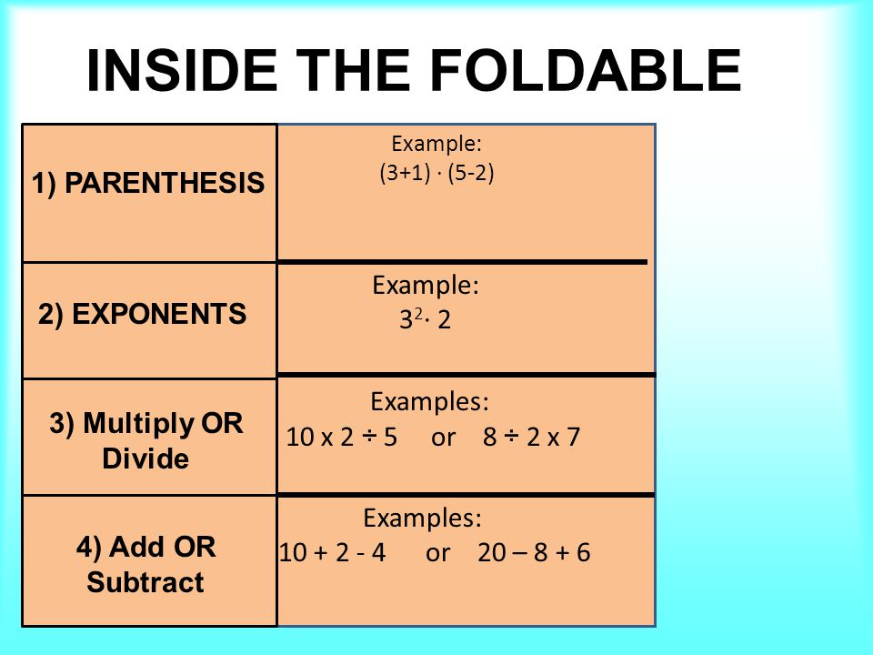 Step 3 & Step 4 NOTES Examples: 10 x 2 ÷ 5 or 8 ÷ 2 x 7 Examples: 10 + 2 - 4 or 20 – 8 + 6