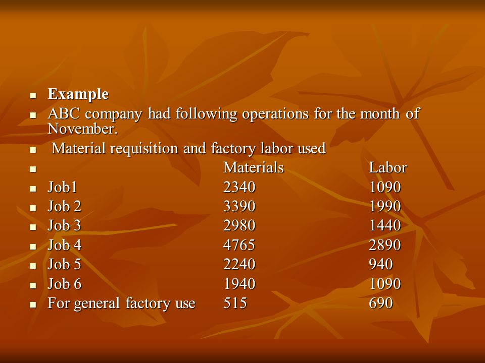 Example Example ABC company had following operations for the month of November.