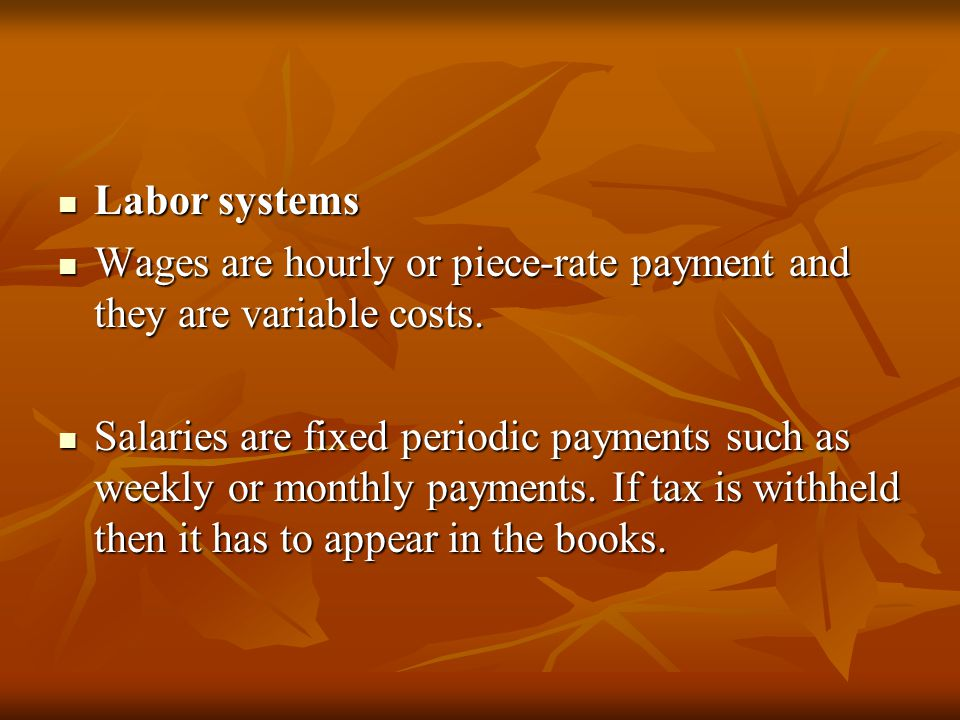 Labor related costs Labor related costs These include bonuses, vacation pay, free uniform and hospitalization insurance.