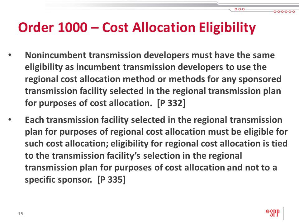 15 Nonincumbent transmission developers must have the same eligibility as incumbent transmission developers to use the regional cost allocation method or methods for any sponsored transmission facility selected in the regional transmission plan for purposes of cost allocation.